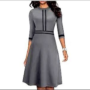 NWT Homeyee dress gray size 4 black trim
